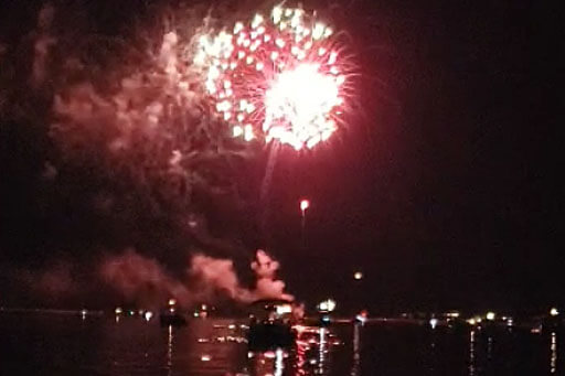 SPP Fireworks Lit Up In The Night At Sea