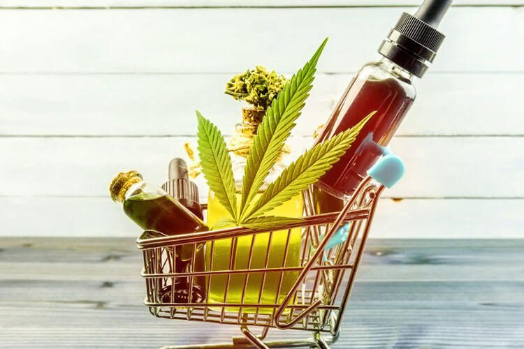 Pushcart filled with CBD Products
