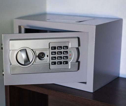 ALS -Gray vault safe in a house