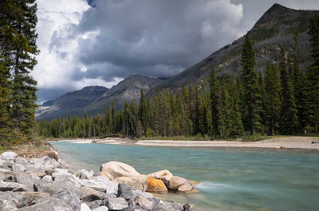 Panoramic image of a tranquil river scenery within the Kootenay National Park, British Columbia, Canada